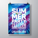 Vector Summer Beach Party Flyer Design with typographic elements and copy space on color palm background. Royalty Free Stock Photography