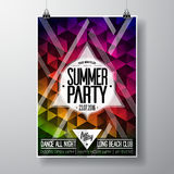 Vector Summer Beach Party Flyer Design with typographic elements and copy space on color triangle background. Royalty Free Stock Photos