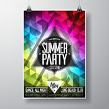 Vector Summer Beach Party Flyer Design with typographic elements and copy space on color triangle background. Royalty Free Stock Photography