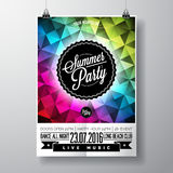 Vector Summer Beach Party Flyer Design with typographic elements and copy space on color triangle background. Royalty Free Stock Photo