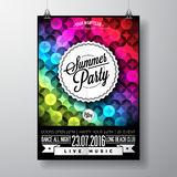 Vector Summer Beach Party Flyer Design with typographic elements and copy space on color triangle background. Stock Photography