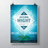 Vector Summer Beach Party Flyer Design with typographic elements and copy space on ocean landscape background. Stock Photography