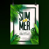 Vector Summer Beach Party Flyer Design with typographic elements on exotic leaf background. Summer nature floral. Elements, tropical plants, flower. Design stock illustration