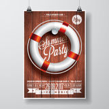 Vector Summer Beach Party Flyer Design with typographic elements and life buoy on wood texture background. Royalty Free Stock Image