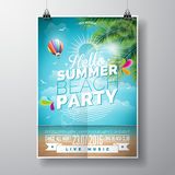 Vector Summer Beach Party Flyer Design with typographic Stock Photo