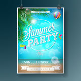Vector Summer Beach Party Flyer Design with typographic elements on ocean landscape background. Air balloon and palm tree. Eps10 illustration Stock Image