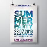 Vector Summer Beach Party Flyer Design with typographic elements on ocean landscape background. Stock Image