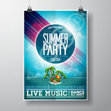 Vector Summer Beach Party Flyer Design with typographic elements on ocean landscape background. Eps10 illustration Stock Photography