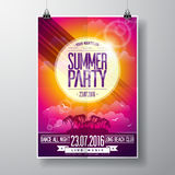 Vector Summer Beach Party Flyer Design with typographic elements on ocean landscape background. Royalty Free Stock Image
