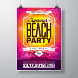 Vector Summer Beach Party Flyer Design with typographic elements on ocean landscape background. Royalty Free Stock Photos