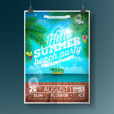Vector Summer Beach Party Flyer Design with typographic elements and palm tree on ocean landscape background. Vector Summer Beach Party Flyer Design with Royalty Free Stock Images