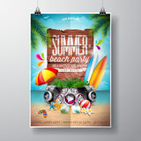 Vector Summer Beach Party Flyer Design with typographic elements on wood texture background. Summer nature floral elements, surf,. Board, music objects and Royalty Free Stock Photo