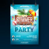 Vector Summer Beach Party Flyer Design with typographic elements on wood texture background. Summer nature floral. Elements, tropical plants, flower, beach ball stock illustration