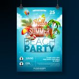 Vector Summer Beach Party Flyer Design with typographic elements on wood texture background. Summer nature floral. Elements, tropical plants, flower, beach ball royalty free illustration