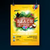 Vector Summer Beach Party Flyer Design with typographic elements on wood texture background. Tropical plants, flower. Toucan bird, coconut and air balloon with vector illustration