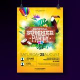 Vector Summer Beach Party Flyer Design with typographic elements on wood texture background. Tropical plants, flower. Toucan bird, coconut and air balloon with stock illustration