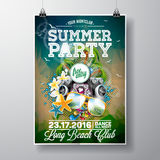 Vector Summer Beach Party Flyer Design with typographic and music elements on ocean landscape background. Royalty Free Stock Images