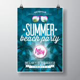 Vector Summer Beach Party Flyer Design With Typographic Elementson Blue Triangle Background. Royalty Free Stock Image