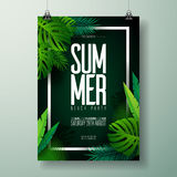 Vector Summer Beach Party Flyer Illustration with typographic design on nature background with palm leaves. Vector Summer Beach Party Flyer Illustration with stock illustration