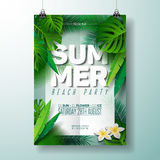 Vector Summer Beach Party Flyer Illustration with typographic design on nature background with palm leaves. Royalty Free Stock Image