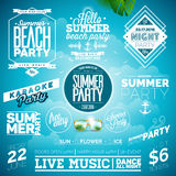 Vector Summer Beach Party Typography Illustration set with signs and symbols on blue background.  Royalty Free Stock Photos