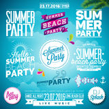 Vector Summer Beach Party Typography Illustration set Royalty Free Stock Image