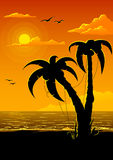 Vector summer beach with sea sun and palm tree Royalty Free Stock Images