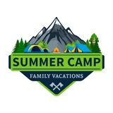 Vector summer camp logo. Vector summer camp and outdoor recreation logo. Tourism, hiking and campground badge royalty free illustration