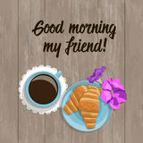 Vector summer card with the inscription, top view.  Friends Day. A cup of coffee, fresh croissants pink and lilac flower on a wooden surface Stock Images