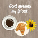 Vector summer card with the inscription, top view.  Friends Day. A cup of coffee, fresh croissants and yellow flower on a wooden surface Royalty Free Stock Images