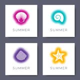 Vector Summer Cards With Seashells Halftone Design Royalty Free Stock Photos