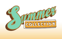 Vector. Summer collection banner. Summer clothing or accessories. New collection. Seasonal fashion. Gradient background. Retro sty Royalty Free Stock Photography