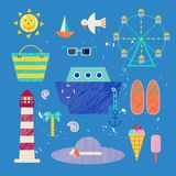 Vector summer colorful illustration, travelling, holidays. Set of sea objects, isolated on blue background. Ship, sun, hat etc Royalty Free Stock Image