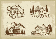 Vector summer cottage Stock Images