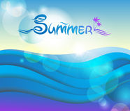 Vector, summer 3D background. Vector summer 3D background with the sky and the sea Stock Images