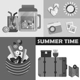 Vector summer day elements set.  Royalty Free Stock Images