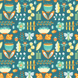 Vector summer decorative seamless background with flowers, bugs Stock Photo