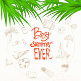 Vector summer doodle with lettering and palm Stock Photography