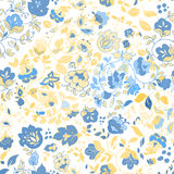 Vector summer doodle seamless pattern. Floral background Stock Photo