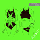 Vector summer fashion woman`s set with beach clothes. Royalty Free Stock Images