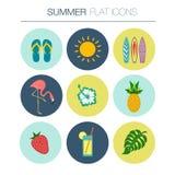 Vector Summer flat icon set Stock Photography