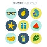 Vector Summer flat icon set Royalty Free Stock Image