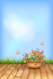 Vector summer flowers natural background… Royalty Free Stock Photo