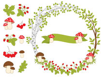 Vector Summer Forest Set with Wreath, Mushrooms, Leaves and Berries Royalty Free Stock Photos