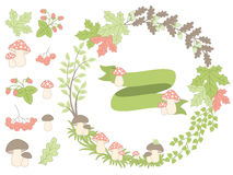 Vector Summer Forest Set with Wreath, Mushrooms, Leaves and Berries. Vector summer forest set with wreath, mushrooms, amanita, leaves, berries and ribbon in Royalty Free Stock Image