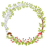 Vector Summer Forest Wreath with Amanita, Mushrooms and Berries. Vector summer forest wreath, mushrooms, amanita, leaves and berries. Forest wreath clipart Stock Image