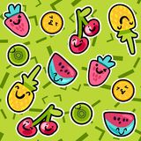 Summer Fruits Patterns. Vector Summer Fruits Patterns in cartoon style. Fruits and berries. Sweet backdrop Stock Image