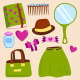 Vector summer girl clothing and accessories isolated shopping items and beautiful cosmetic or makeup. Royalty Free Stock Images
