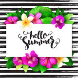 Vector summer hand lettering - hello summer - with tropical flowers - alstroemeria, plumeria, hibiscus and leaves on. Watercolor strip background vector illustration