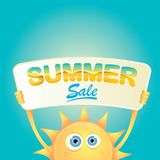 Vector summer happy sun holding sale offer sign Stock Images